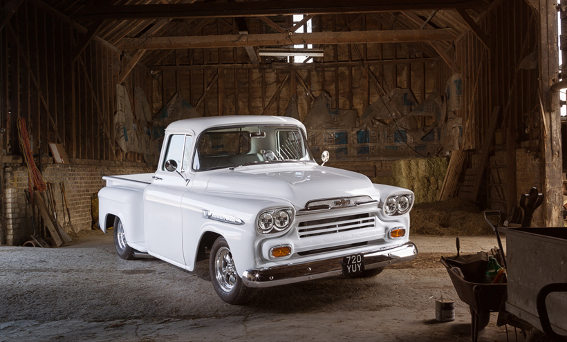 1959 Chevrolet Apache photographed by car photographer Darren Woolway for American Car Magazine